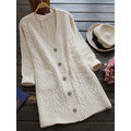 Casual Pure Color Long Sleeve V-neck Women Knitting Coats