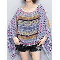 Casual O-cuello Batwing mangas Blusas impresas Cover Up