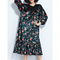 Floral Printed Lace Patchwork Women Casual Dresses