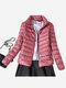 Women Stand Collar Pure Color Long Sleeve Short Down Coats