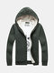 Winter Stripe Knitting Lined Thick Warm Hooded Cardigan For Men