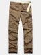 Spring Fall Mens Solid Color Outdoor Casual Trouers Cotton Multi-pocket Cargo Pants