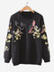 Women Casual Floral Embroidery O-neck Sweatshirt