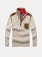 Повседневный трикотажный флис Твердый цвет Толстый теплый штаник Тонкий свитер для мужчин