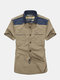 Plus Size Summer Mens Casual Cotton Slim Fit Short Sleeve Cargo Shirts