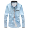Casual Fashion Solid Color Slim Fit Long Sleeve Plus Size Dress Shirts For Men