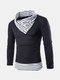 Mens Winter Sweater Stitching Stripe Collar Warm Knitted Casual Pullover
