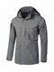 Outdoor Tactics Softshell Multi Pockets Solid Color Detachable Hood Windbreaker for Men