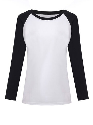 Casual Contrast Color  Long Sleeve  O Neck Women T-Shirts