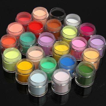24 Colors Manicure Nail Art Powder Dust Decoration Set