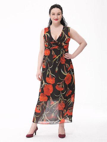 Женщины сексуальный цветок печатных чешский участник шифон Макси платье
