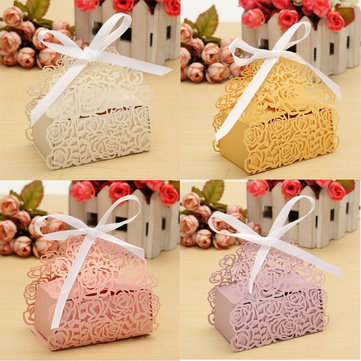 12 Pcs Lace Ribbon Rose Hollow Out Paper Candy Boxes Wedding Favors Sweets Bags Table Decoration