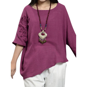 Casual Solid O-Neck Asymmetric Pullover T-Shirt For Women