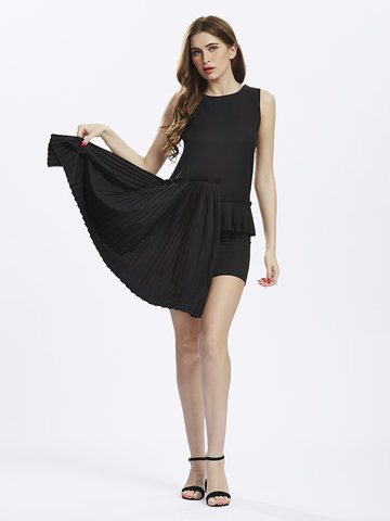 Women Sleeveless O Neck Pleated Patchwork High Low Sexy Dress