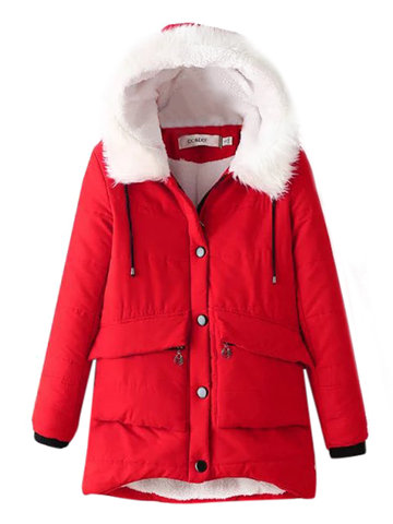 Women Casual Winter Long Sleeve Cotton Hoode Warm Coat