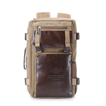 Multifunctional Men Large Capacity Canvas Backpack Leather Portable Handbag Shoulder Bag