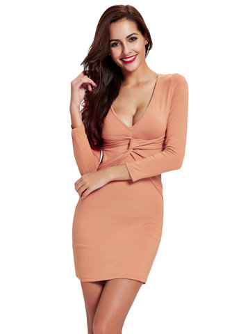Sexy V-neck Back Hollow Out Package Hip Mini Dress