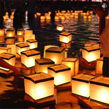 Water Floating Candle Holder Waterproof Square Lantern Wishing Light Candlestick