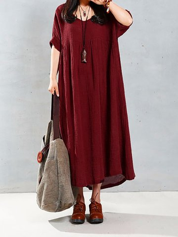 Vintage Women Short Sleeve Pure Color Loose Long Maxi Dress