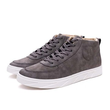 Men High Top Shoes Lace Up PU Casual Outdoor Sneakers
