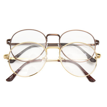 Men Women Retro Vintage Oval Eyeglasses Frame Spectacles Clear Plain Glasses