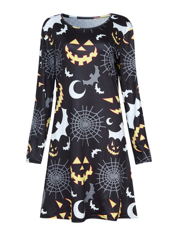 Women Christmas Long Sleeve Black White Gray Bats Moonlight Printed Dress