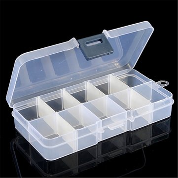 6Pcs 10 Cells Detachable Compartment Empty Storage Case Box For Nail Tip Gems Little Stuff