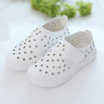 Stars Hollow Out Unisex Hook Loop Flats Casual Kids Shoes