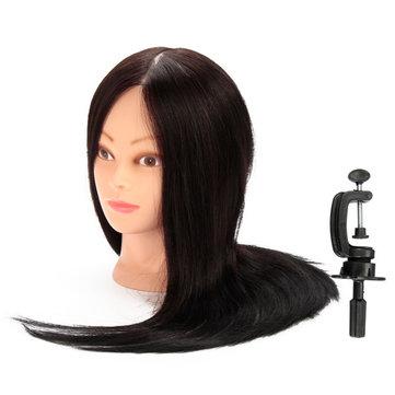 100% Black Real Human Hair Practice Mannequin Training Head Парикмахерская резка с помощью зажима