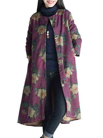 Women Ethnic Long Sleeve Floral Printed Thicken Woolen Coat