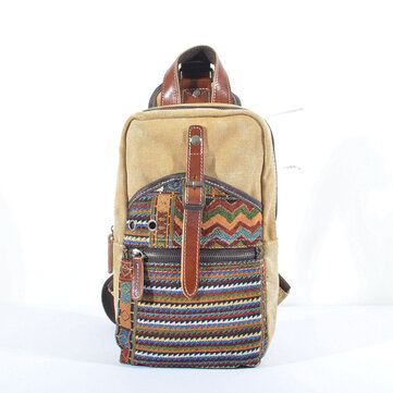 Women Dual-Use Ethnic Style Canvas Genuine Leather Crossbody Bag