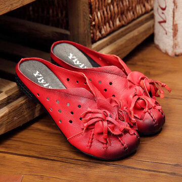 SOCOFY Flower Tassel Leather Hollow Out Breathable Open Heel Shoes