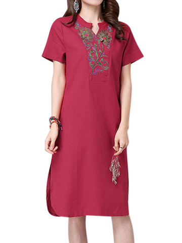 Women Ethnic Embroidery Side Split Out Cotton Linen Dress
