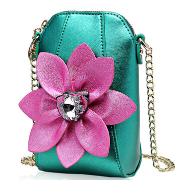 6 Inches Cell Phone Pu Leather  Women National Style Flowers Chain Crossbody Bag Shoulder Bag