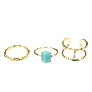 JASSY® 3 Pcs Ring Set Gold Platinum Plated Turquoise Zirconia Open Ring Fine Jewelry for Women