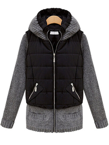 Slim Casual Long Black Knit Patchwork Zipper Hood Coat для женщин.