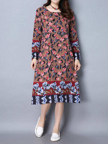 Retro Style Floral Printed Long Sleeve Dress For Women