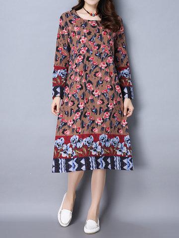 Ретро стиль цветочные печатных длинное платье для женщин