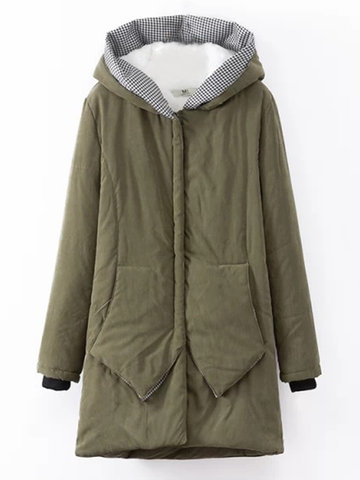 Casual Women Pure Color Long Sleeve Mid-Long Thicken Warm Coat