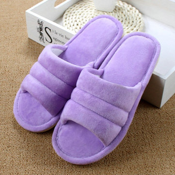 Peep Toe Wool Cotton Warm Home Slippers For Women