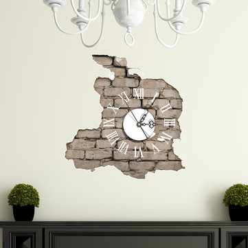 PAG STICKER 3D Wall Clock Decals Breaking Cracking Wall Sticker Home Wall  Decor Gift