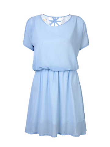 Elegant Chiffon Short Sleeve Elastic Waist Pure Color Mini Dress