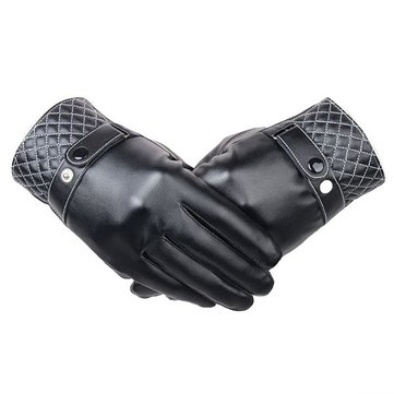 Men Women Screen Touch Artificial Leather Buckle Gloves Elastic Windproof Driving Mittens