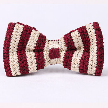 Men Fashion Knitted Stripe Bowties  Long Adjustable Ties Wedding Party Bowties