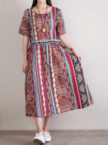 O-NEWE Bohemian Women Print Half Sleeve Drawstring Dress
