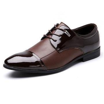 Big Size Men Color Match Ponted Toe Business Chaussures plates à lacets