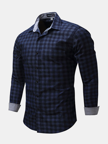 Slim Fit Bussiness Casual Checked Button Up Dress Shirt for Men