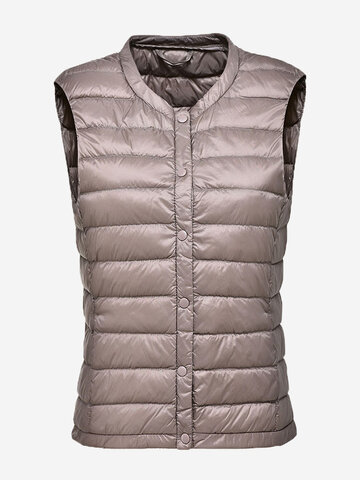 Pure Color Button Women Down Vest Coats