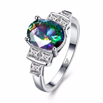 Oval Rainbow Zircon Ring