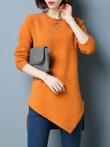 Casual Irregular Splited Rivet Long Sleeve O-neck Women Sweaters